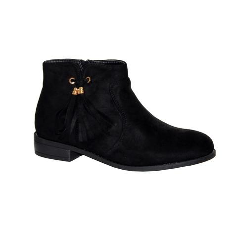 Style Shoes Black Micro-Fibre Plain Front Tassel Bow Style Boot