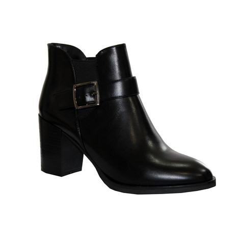 Raxmax Black Block Heel Smooth Finish Chelsea Boot