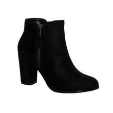 Poti Pati Black Smooth Front Block Heel Boot with Snake Print Detail