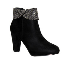 Poti Pati Black Micro-Fibre High Heel Boot with a Diamonte Collar