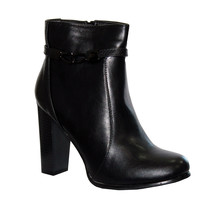 Abloom Black Stacked Heel Smooth Front Boot