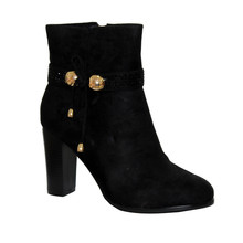 Laura Mode Black Micro-Fibre Ankle Boot with High Heel & Decorative Strap