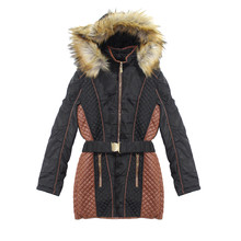 Kelya Black & Brown Fur Hoodie Coat - NOW €45 -