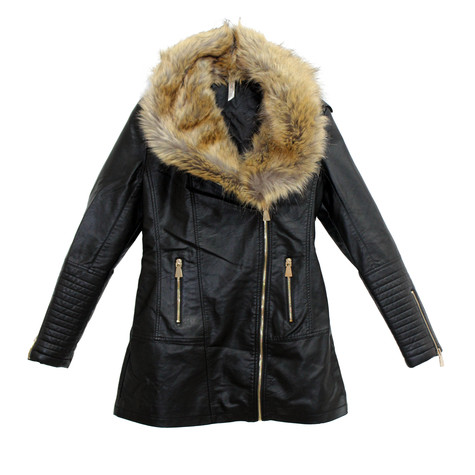 Stella Morgan Fun Fur Leatherette Jacket with gold zip detail