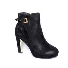 Easy Day Black Micro Fibre High Heel Glam Boot