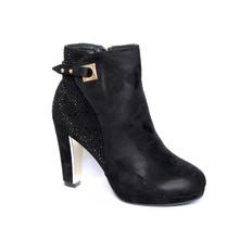 Easy Day Black Micro Fibre High Heel Glam Boot