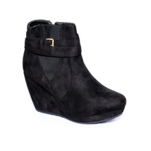 Chic Nana Black Micro Fibre Wedge Boot