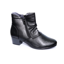 Exquily Black Warm Lined Twin Zip Comfort Boots