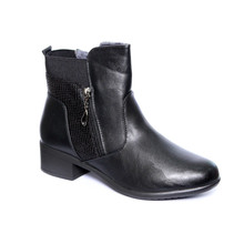 Exquily Black Warm Lined Snake Print Comfort Boot