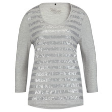 Olsen SEQUINED TOP - PEARL MELANGE