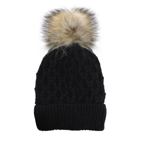 Phanie Mode Black Fleece Lined Fur Ball Hat