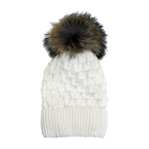 Phanie Mode Cream Fleece Lined Fur Ball Hat