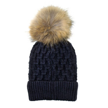 Phanie Mode Navy Fleece Lined Fur Ball Hat