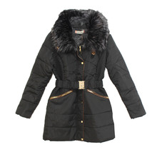Kelya Black Fun Fur Belted Winter Coat