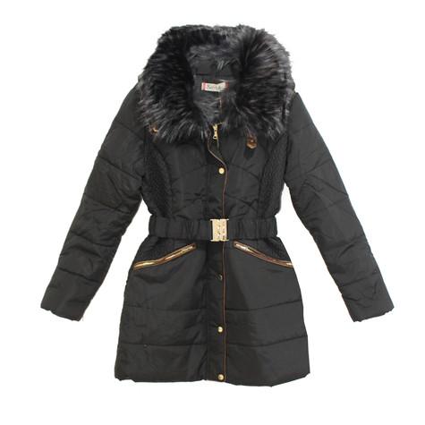 Kelya Black Fun Fur Belted Winter Coat