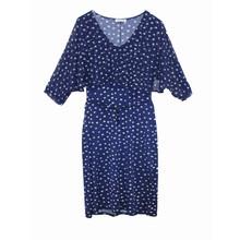 Zapara Navy Chiffon White Spot Print Dress
