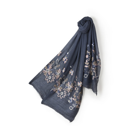Pia Rossini Poppy Navy Floral Scarf