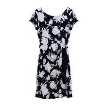 Zapara Navy White Large Leaf Print Dress