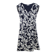 Zapara Navy and White Floral Print Pattern Dress