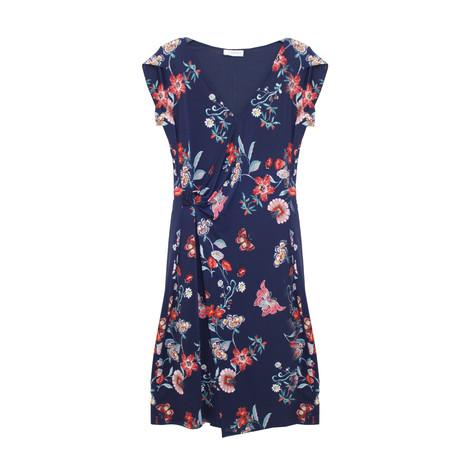 Zapara Navy Floral Print Wrap Dress