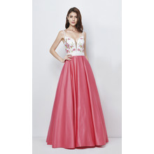 Lore Ivory & Pink Satin based long ladies gown
