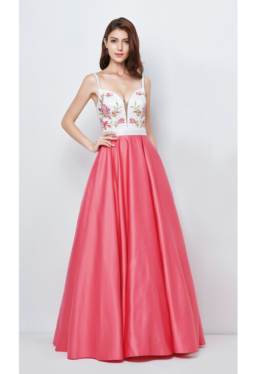 Pamela Scott Ivory & Pink Satin Based Long Ladies Gown