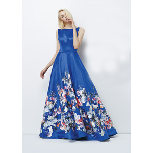Lore Royal Print Long Floral Pattern Dress