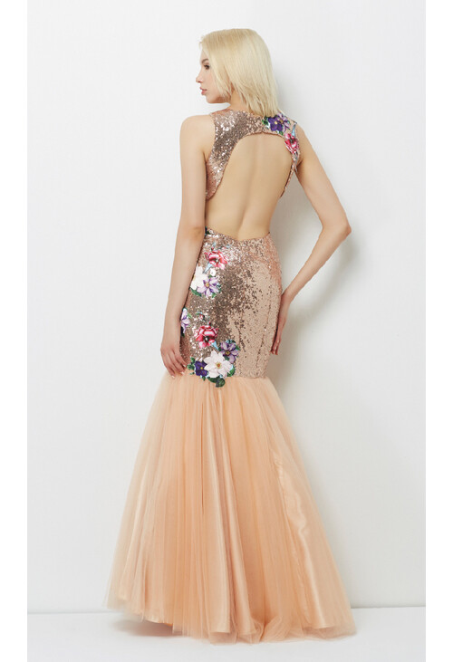 Pamela Scott Gold & Champagne Floral Pattern Dress