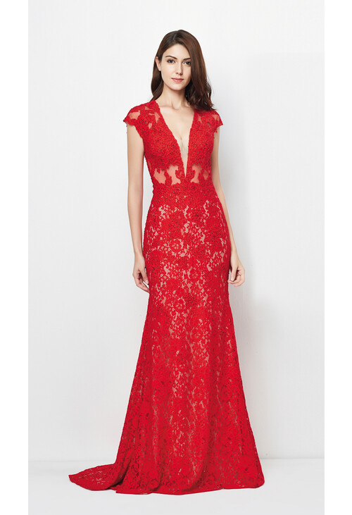 Pamela Scott Red Long Lace Dress