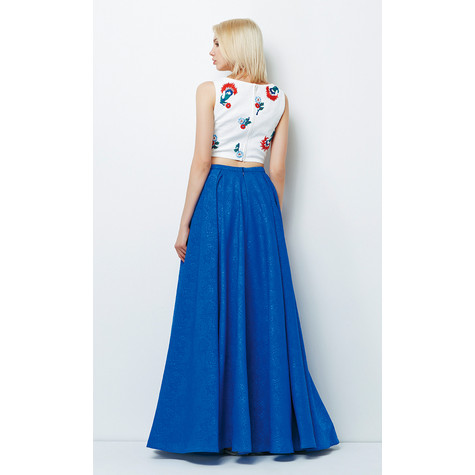 Lore Ivory & Blue Two Piece Long Dress