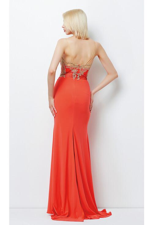 Pamela Scott Salmon & Pink Mesh Detail Long Dress