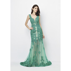 Lore Emerald Long Mesh Detail Dress