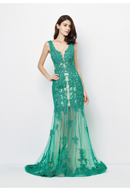 Pamela Scott Emerald Long Mesh Detail Dress
