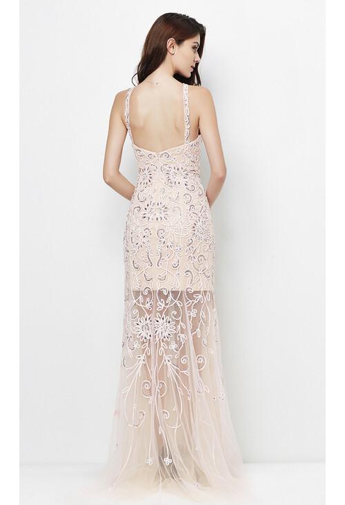 Pamela Scott Pink & Nudes Floral Mesh Pattern Long Dress