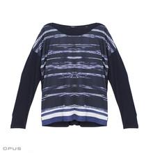 Opus Navy Siera Print Long Sleeve Top