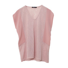 Twist V-Neck Rose Linen Mix Top