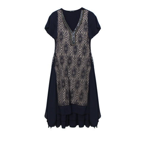 SophieB V-Neck Jewel Detail Long Dress