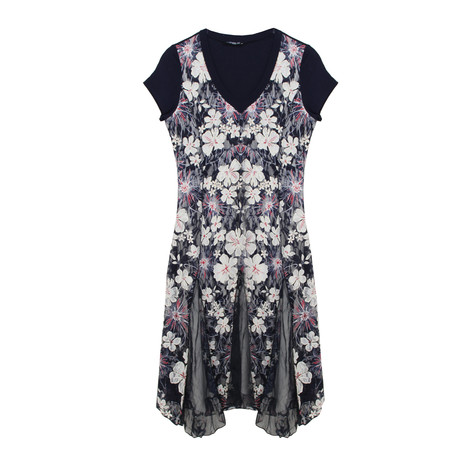 SophieB Navy Floral V-Neck Long Dress