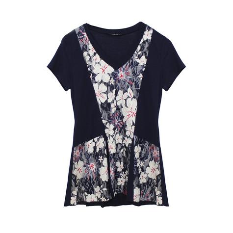 SophieB Navy Floral V-Neck Top