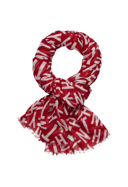 Tommy Hilfiger Red Graphic Pattern Print Scarf