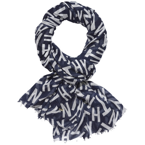 Tommy Hilfiger Navy Graphic Print Scarf