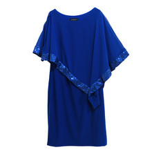 Scarlett Royal Blue Cape Sequence Dress
