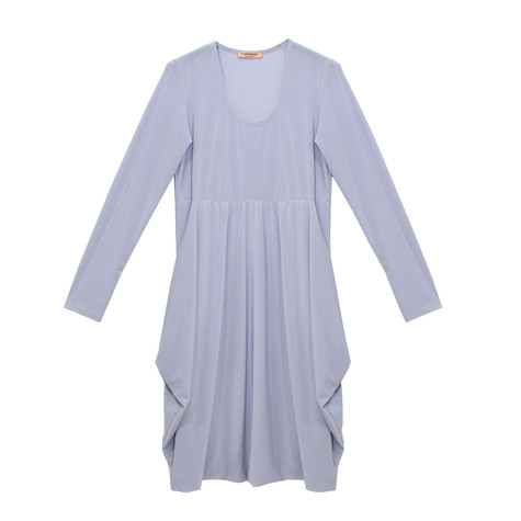 Flam Mode Royal Blue Round Neck Jersey Dress
