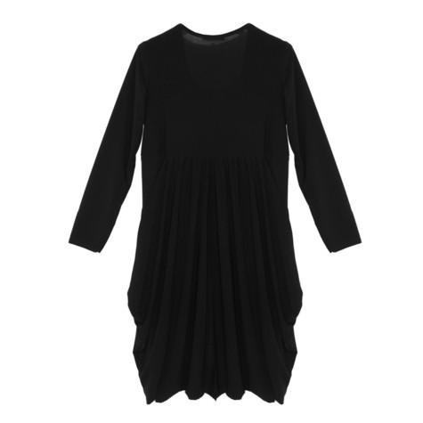 Flam Mode Black Round Neck Jersey Dress