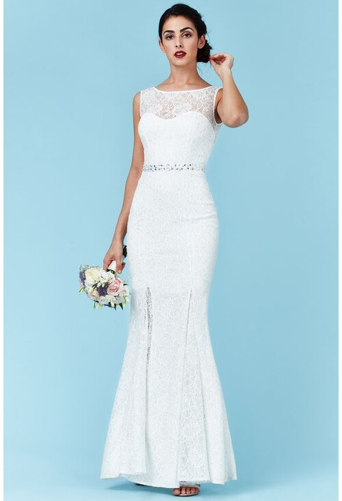 beauty picked up hot products Open Back Maxi Wedding Dress with Embellished Belt - White