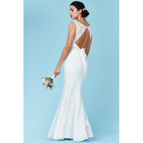 Goddiva Open Back Maxi Wedding Dress with Embellished Belt - White ...
