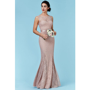 Goddiva Open Back Lace Maxi Dress with Ribbon Tie - Nude