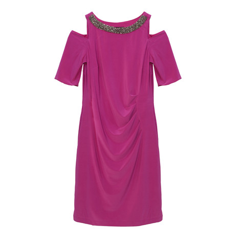 Scarlett Fushia Sequence Neck Detail Cold Shoulder Dress