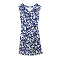 Zapara Blue & Cream Denim Floral Pattern Dress