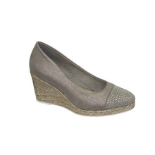 CORTINA Light Grey Metallic Wedges